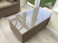 Wicker glass topped coffee table