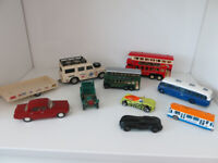 Bundle - diecast vehicles - various: vintage buses, land rover & trailer, etc