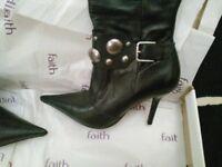 Black leather knee high boots (FAITH) size 4