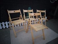 4 PINE FOLD AWAY CHAIRS IDEAL FOR CHRISTMAS TIME ;) ALL IN EXCELLENT CONDITION