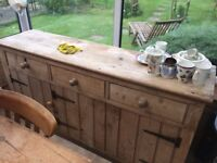 """Old pine sideboard - 5ft 6"""" x 17"""". New home urgently needed!"""
