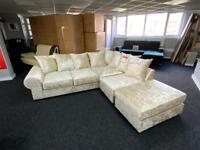 New cream crushed velvet corner sofa