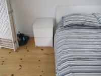 2x Ikea white bedside tables - 2 draws