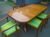 YEW-WOOD EXTENDING TABLE AND 6 CHAIRS at Haven Trust's charity shop