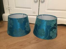 Teal bedside lampshades