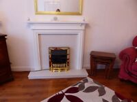A white and marble complete fire unit