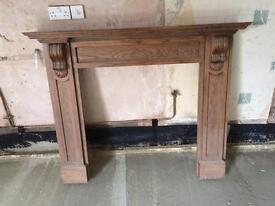 Oak fireplace surround/mantelpiece