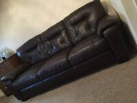 3 seater brown leather dfs sofa