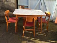 VINTAGE RETRO MID CENTURY 1950S DANISH INSPIRED FORMICA TABLE & 4 BEECH & RED VINYL CHAIRS