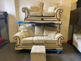 FABRIC SOFA SET WITH FLORAL DESIGN 3+2 SEATER + FOOTSTOOL IN GOOD CONDITION