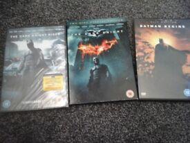 3 Batman DVDs, Dark Knight Rises, brand new. Dark Knight & Batman Begins