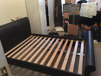 good quality double bed frame black faux leather with wooden slats