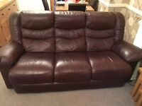 Excellent condition soft brown leather 3 seat sofa, armchair and recliner chair