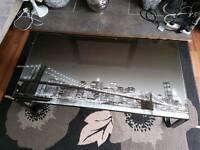 Brooklyn bridge glass coffee table