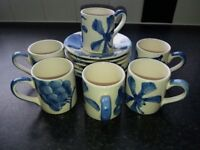 Whittards of Chelsea, six espresso cups and saucers