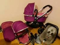 Icandy peach3 fuchsia(full travel system)pram/pushchair