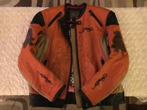 Men's Ed Hardy Leather Motorcycle Jacket (medium)
