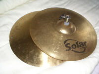 SOLAR HIGH HAT CYMBALS.. and ''stand''..reduced.