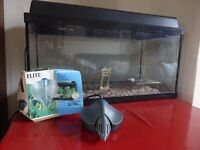 Fish Tank, glass, 60x30x30cm with lid, filter pump and light. £50