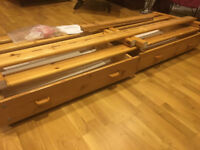 Flexa Children's natural Pine bed and 2 under-bed storage boxes