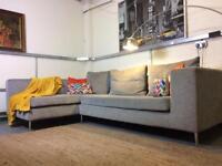 DFS City Corner Sofa in grey fabric