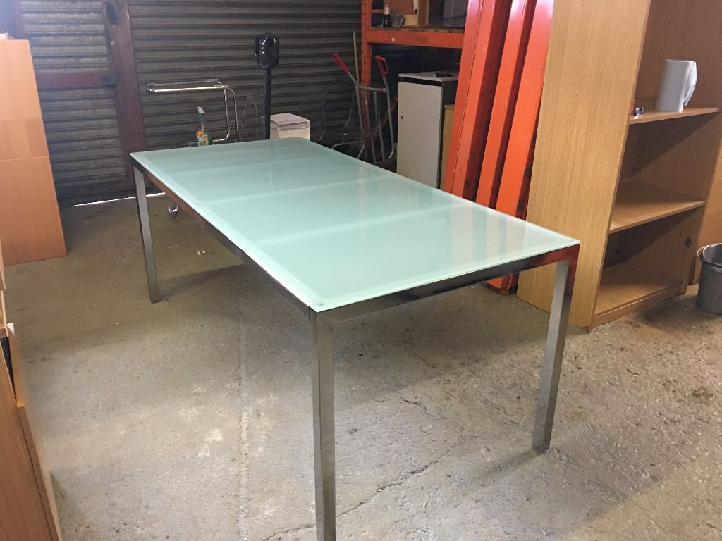 Ikea Torsby Glass Chrome Table 1800mm X 850mm In