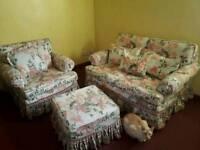 3 Piece Vintage Floral Sofa Set