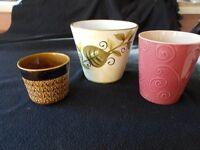 3 varied plant pot holders, ceramic