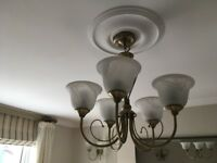 Collection of various brass pendant and wall lights with opaque glass shades