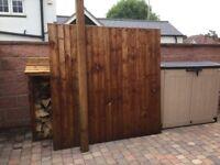 Feather edge wooden garden panel
