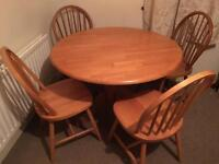 Pine table and 4 chairs-Free delivery