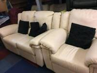 White leather 2 seater sofa and one seater chair