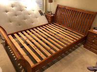 Strong solid pine king size curved bed frame in very good condition