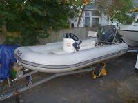 Tohatsu 4mtr rib tohatsu with Tohatsu 40hp outboard on road trailer