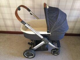 Oyster denim pram/stroller set with car seat
