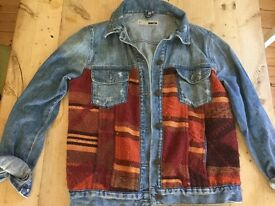 Distressed denim jacket with tapestry inset size 12