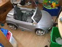 kids electric silver aldi car immac conditon light and engine sounds cute