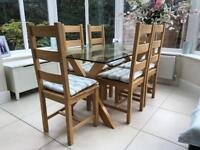 Oak & Glass John Lewis 'Lydia' Dining Table, with 6 Oak Chairs. Beautiful Condition.