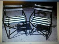 2 x green and white stripped sun chairs