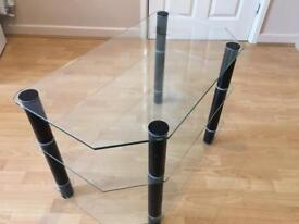 Tv table glass coffee white black 3 levels