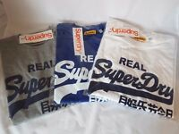 Mens SuperDry T-Shirt - Blue, Grey & White Available - Size L & XL