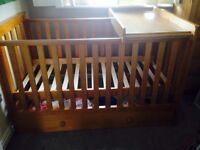 Cot, over cot changer and under cot drawer