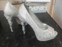 white silver heels
