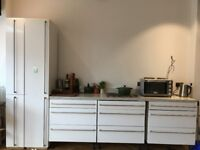 Full kitchen including draws, wall cupboards, tall boy, sink & quartz work surface with hob