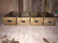4 antique pine drawers