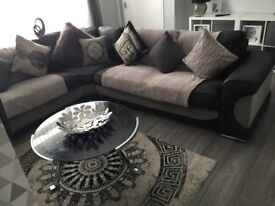 LARGE black and grey suede corner sofa