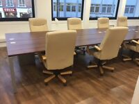 Elite Matrix pod of 8 Desks - These stunning desks are in light walnut MFC and measure 1400 x 800.