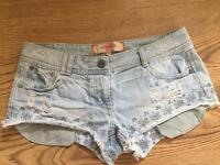 Denim very short shorts
