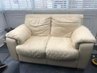 Creme leather sofa