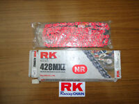 New RK Heavy Duty Trick Neon Red Chain KTM 85 YZ RM 80 85 428x134 Links